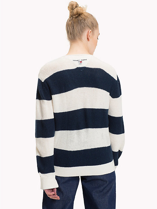 TOMMY JEANS All-Over Stripe V-Neck Jumper - BLACK IRIS / CLOUD DANCER - TOMMY JEANS Knitwear - detail image 1