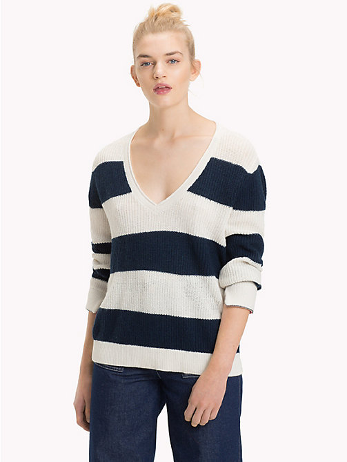 TOMMY JEANS All-Over Stripe V-Neck Jumper - BLACK IRIS / CLOUD DANCER - TOMMY JEANS Knitwear - main image