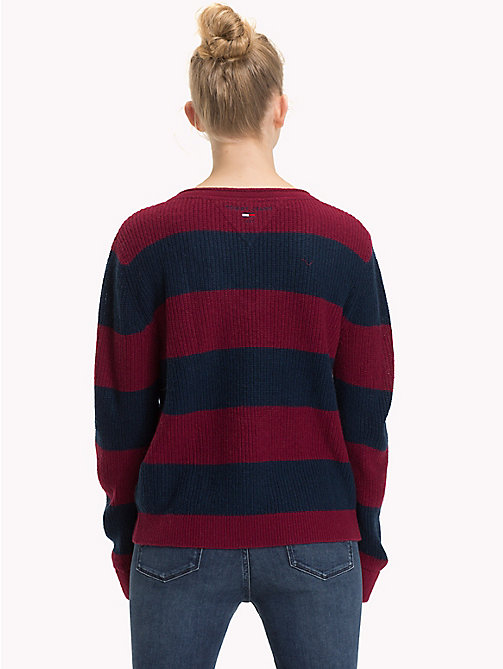 TOMMY JEANS All-Over Stripe V-Neck Jumper - RUMBA RED / BLACK IRIS - TOMMY JEANS Knitwear - detail image 1