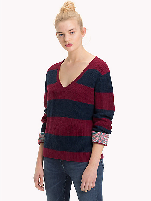 TOMMY JEANS All-Over Stripe V-Neck Jumper - RUMBA RED / BLACK IRIS - TOMMY JEANS Knitwear - main image