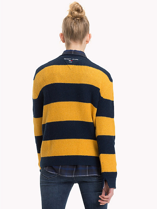 TOMMY JEANS All-Over Stripe V-Neck Jumper - MANGO MOJITO / BLACK IRIS - TOMMY JEANS Knitwear - detail image 1