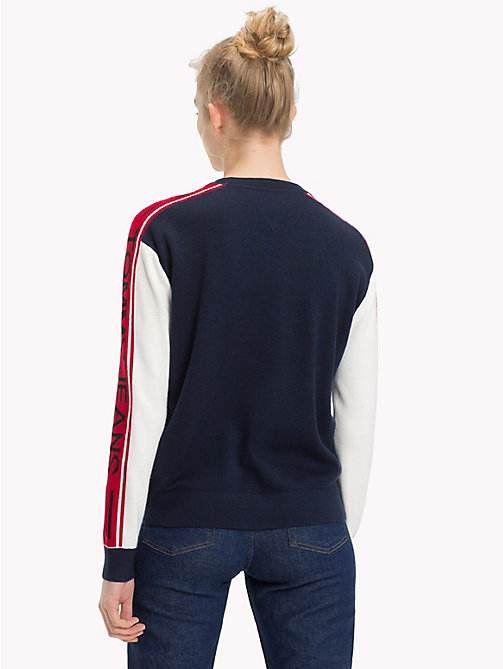 TOMMY JEANS Logo Sleeve Colour-Blocked Jumper - BLACK IRIS - TOMMY JEANS Knitwear - detail image 1