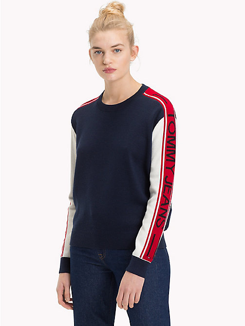 TOMMY JEANS Logo Sleeve Colour-Blocked Jumper - BLACK IRIS - TOMMY JEANS Knitwear - main image
