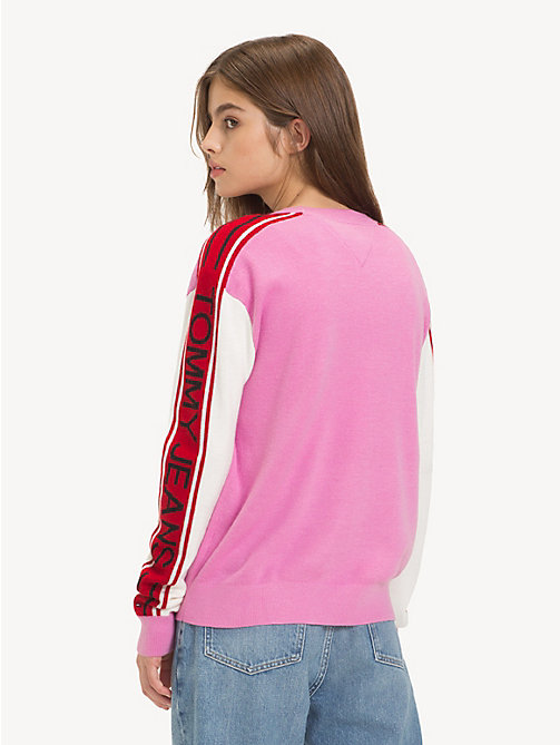 TOMMY JEANS Logo Sleeve Colour-Blocked Jumper - LILAC CHIFFON - TOMMY JEANS Knitwear - detail image 1