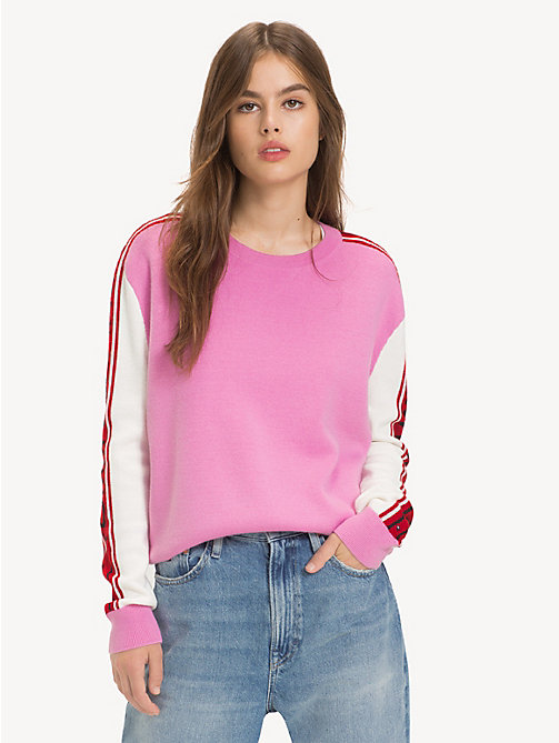 TOMMY JEANS Logo Sleeve Colour-Blocked Jumper - LILAC CHIFFON - TOMMY JEANS Knitwear - main image