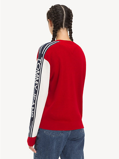 TOMMY JEANS Logo Sleeve Colour-Blocked Jumper - SAMBA - TOMMY JEANS Knitwear - detail image 1