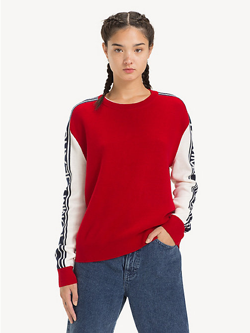 TOMMY JEANS Logo Sleeve Colour-Blocked Jumper - SAMBA - TOMMY JEANS Knitwear - main image