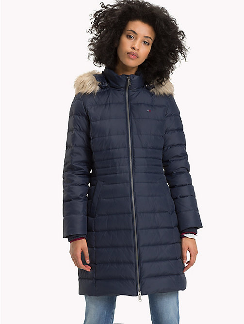 TOMMY JEANS Faux Fur Hood Puffer Coat - BLACK IRIS - TOMMY JEANS Sustainable Evolution - main image