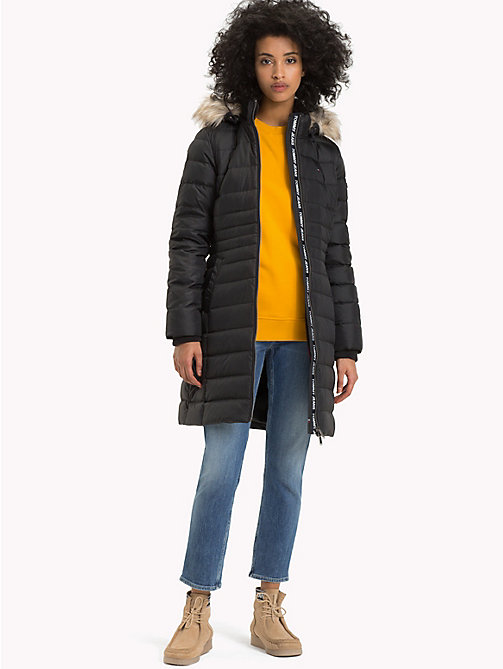 TOMMY JEANS Faux Fur Hood Puffer Coat - TOMMY BLACK - TOMMY JEANS Sustainable Evolution - detail image 1