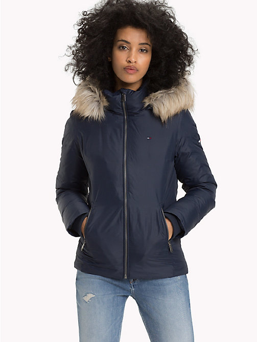 TOMMY JEANS Slim Fit Hooded Down Jacket - BLACK IRIS - TOMMY JEANS Sustainable Evolution - main image