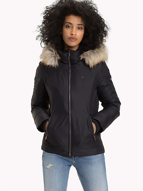 TOMMY JEANS Slim Fit Hooded Down Jacket - TOMMY BLACK - TOMMY JEANS Sustainable Evolution - main image