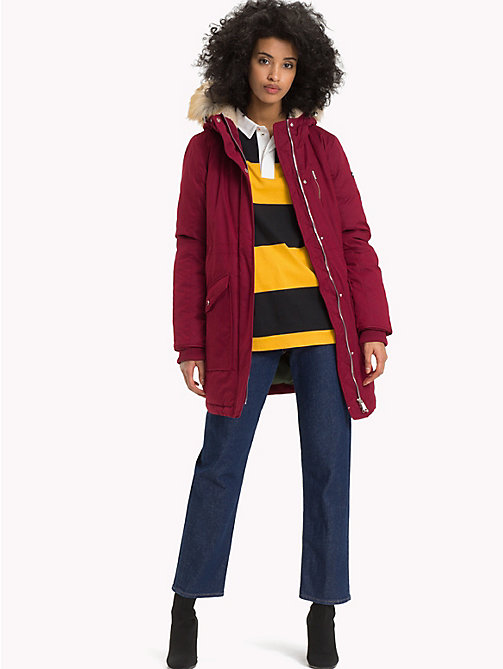 TOMMY JEANS Hooded Sherpa Parka Jacket - RUMBA RED - TOMMY JEANS Coats & Jackets - detail image 1