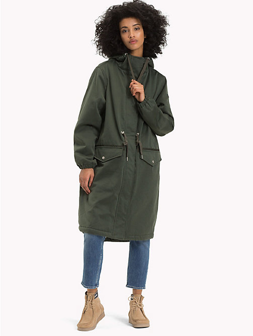 TOMMY JEANS Lined Hooded Parka Coat - KOMBU GREEN - TOMMY JEANS Coats & Jackets - detail image 1