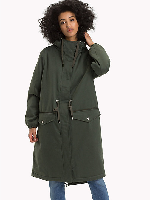 TOMMY JEANS Lined Hooded Parka Coat - KOMBU GREEN -  Clothing - main image