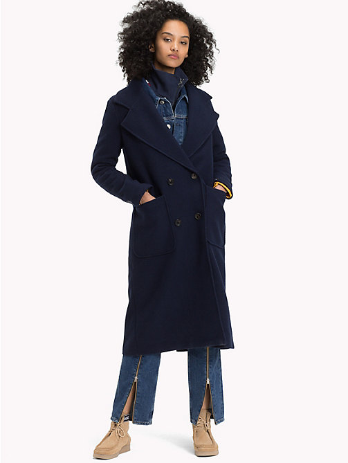 TOMMY JEANS Double-Breasted Wool Blend Coat - BLACK IRIS - TOMMY JEANS Coats & Jackets - main image