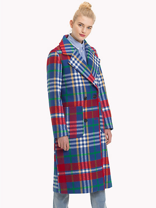 TOMMY JEANS Double-Breasted Wool Blend Coat - MULTI COLOR CHECK - TOMMY JEANS Trending - main image
