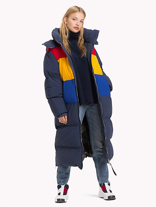 TOMMY JEANS Oversized Colour Blocked Puffer Coat - BLACK IRIS / MULTI - TOMMY JEANS Coats & Jackets - detail image 1
