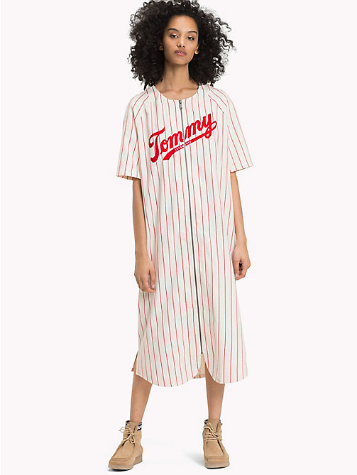 TOMMY JEANS All-Over Stripe Baseball Dress - CLOUD DANCER / SAMBA -  Maxi - main image