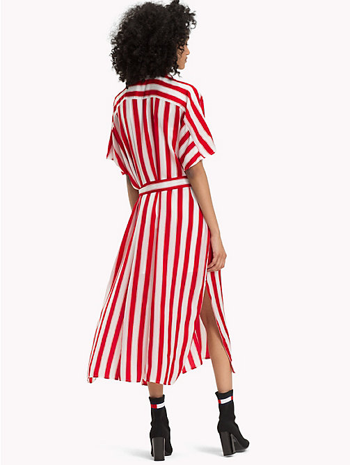 TOMMY JEANS All-Over Stripe Maxi Shirt Dress - SAMBA / BRIGHT WHITE - TOMMY JEANS Maxi - detail image 1