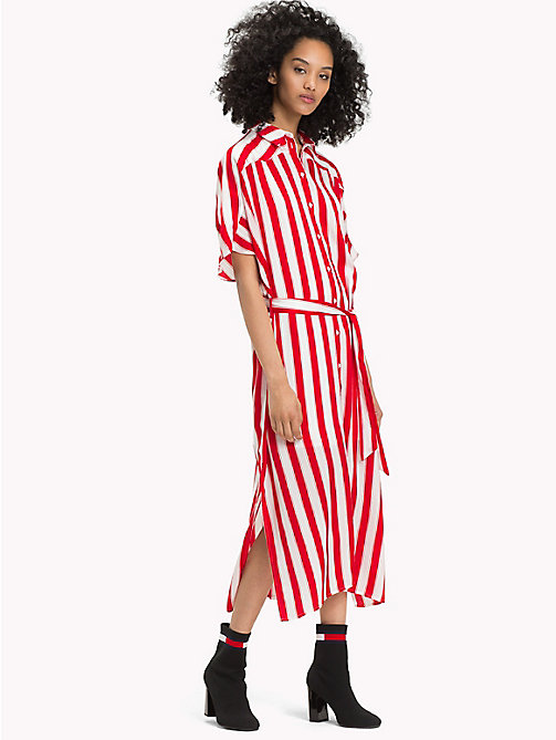 TOMMY JEANS All-Over Stripe Maxi Shirt Dress - SAMBA / BRIGHT WHITE - TOMMY JEANS Maxi - main image