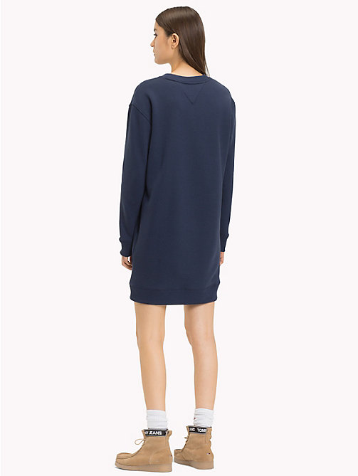 TOMMY JEANS Boyfriend Fit Logo Sweatshirt Dress - BLACK IRIS - TOMMY JEANS Jumper Dresses - detail image 1