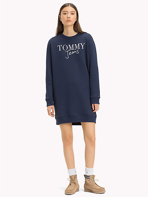 TOMMY JEANS Boyfriend Fit Logo Sweatshirt Dress - BLACK IRIS - TOMMY JEANS Jumper Dresses - main image