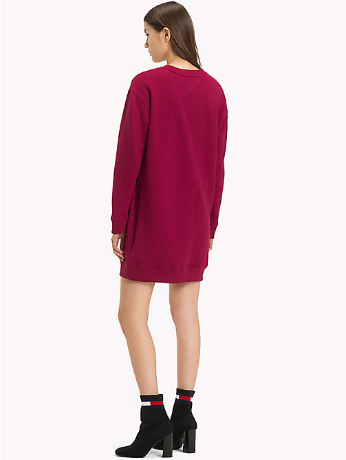 TOMMY JEANS Boyfriend Fit Logo Sweatshirt Dress - RUMBA RED - TOMMY JEANS Mini - detail image 1