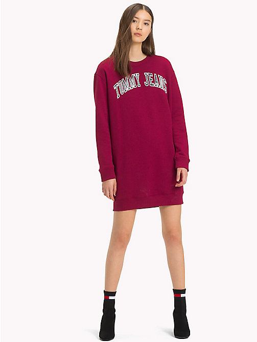 TOMMY JEANS Boyfriend Fit Logo Sweatshirt Dress - RUMBA RED - TOMMY JEANS Mini - main image