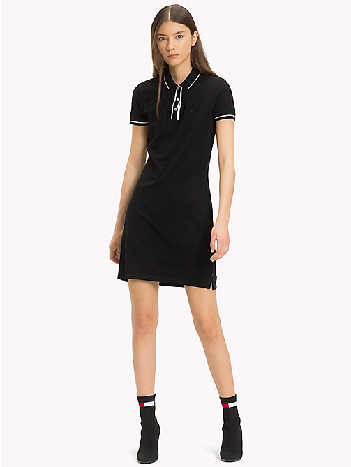 TOMMY JEANS Slim Fit Contrast Polo Dress - TOMMY BLACK - TOMMY JEANS Sustainable Evolution - main image