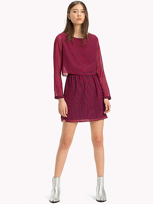 TOMMY JEANS Railroad Stripe Mini Dress - BLACK IRIS / SAMBA - TOMMY JEANS Dresses - main image