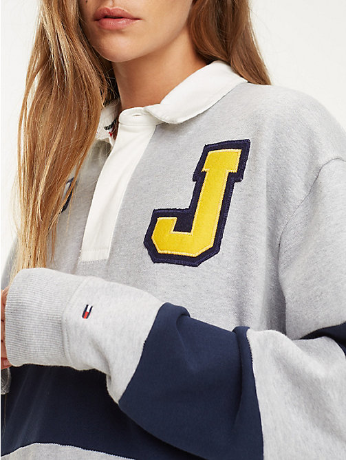 TOMMY JEANS Boyfriend Fit Rugby Dress - PALE GREY HEATHER / BLACK IRIS - TOMMY JEANS Dresses - detail image 1