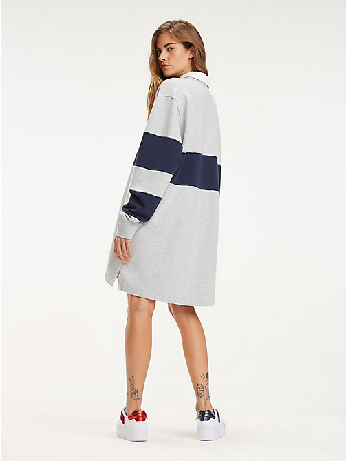 TOMMY JEANS Boyfriend Fit Rugby Dress - PALE GREY HEATHER / BLACK IRIS - TOMMY JEANS Dresses & Skirts - main image