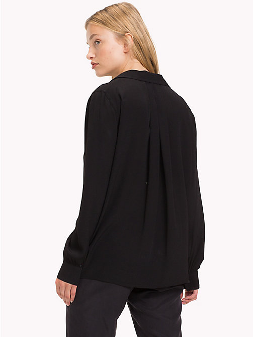 TOMMY JEANS Open Neck Blouse - TOMMY BLACK -  Tops - detail image 1
