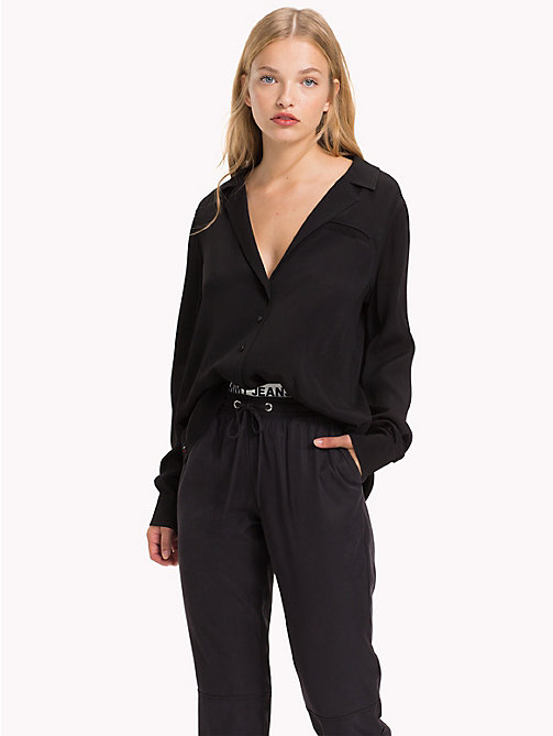 TOMMY JEANS Open Neck Blouse - TOMMY BLACK -  Tops - main image