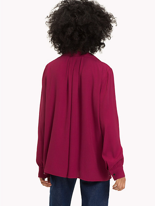 TOMMY JEANS Open Neck Blouse - RUMBA RED - TOMMY JEANS Tops - detail image 1