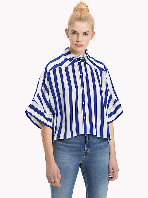 TOMMY JEANS Stripe Cropped Fit Shirt - SURF THE WEB / BRIGHT WHITE - TOMMY JEANS TOMMY JEANS WOMEN - main image