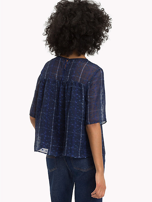 TOMMY JEANS Flare Fit Printed Blouse - BLUE CHECK - TOMMY JEANS Tops - detail image 1