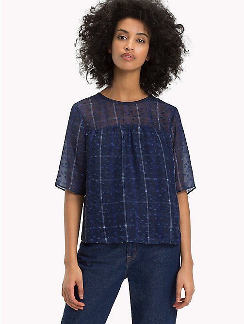 TOMMY JEANS Flare Fit Printed Blouse - BLUE CHECK - TOMMY JEANS Tops - main image