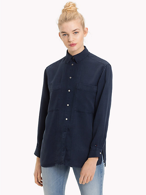 TOMMY JEANS Oversized Snap Button Shirt - BLACK IRIS - TOMMY JEANS Tops - main image