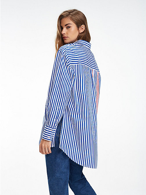 TOMMY JEANS Gestreiftes Oversized Fit Hemd - SURF THE WEB / MULTI - TOMMY JEANS Tops - main image 1