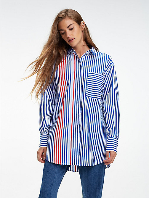 TOMMY JEANS Stripe Oversized Fit Shirt - SURF THE WEB / MULTI - TOMMY JEANS Tops - main image