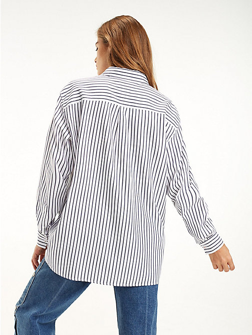 TOMMY JEANS All-Over Stripe Shirt - BLACK IRIS / BRIGHT WHITE - TOMMY JEANS Tops - detail image 1