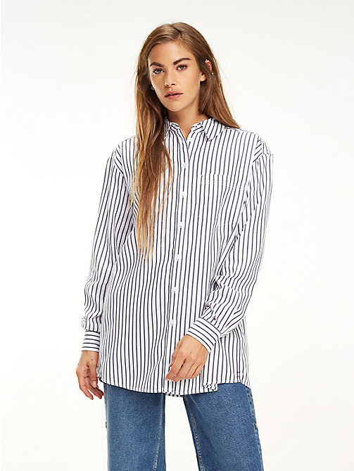 TOMMY JEANS All-Over Stripe Shirt - BLACK IRIS / BRIGHT WHITE - TOMMY JEANS Tops - main image
