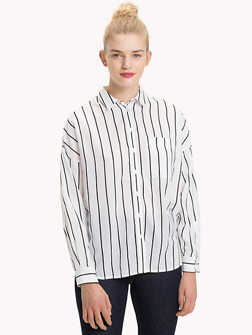 TOMMY JEANS Stripe Boyfriend Fit Shirt - BRIGHT WHITE / TOMMY BLACK - TOMMY JEANS Tops - main image