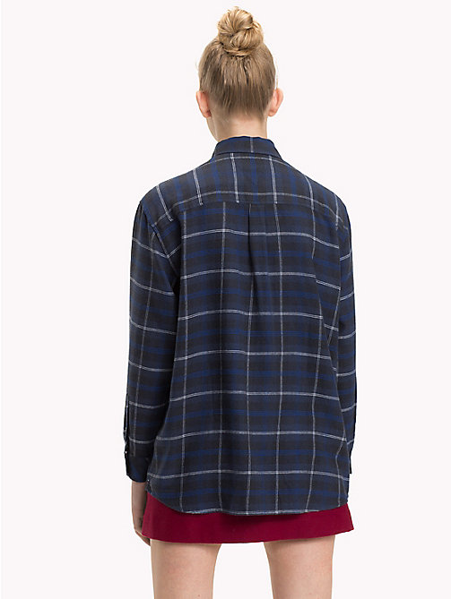 TOMMY JEANS Boyfriend Fit Check Flannel Shirt - BLUE CHECK / MULTI - TOMMY JEANS Tops - detail image 1