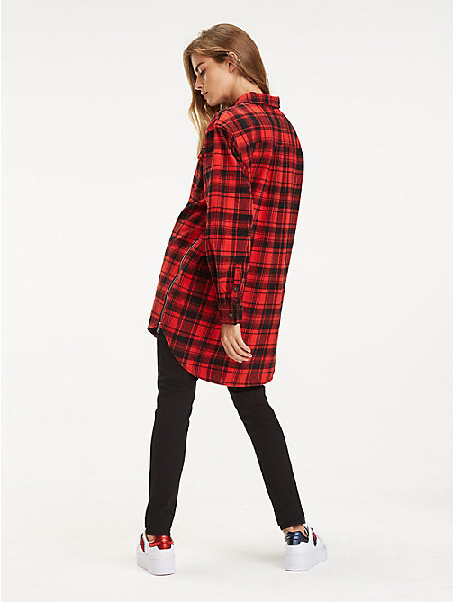 TOMMY JEANS Boyfriend Fit Zipped Check Shirt - DARK RED CHECK - TOMMY JEANS Trending - detail image 1