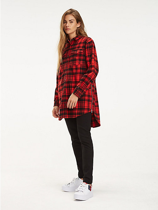 TOMMY JEANS Boyfriend Fit Zipped Check Shirt - DARK RED CHECK - TOMMY JEANS Tops - main image