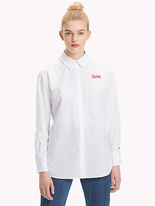TOMMY JEANS Logo Boyfriend Fit Shirt - BRIGHT WHITE - TOMMY JEANS Tops - main image