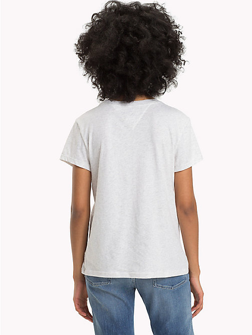 TOMMY JEANS Organic Cotton Script Logo T-Shirt - PALE GREY HEATHER - TOMMY JEANS Tops - detail image 1