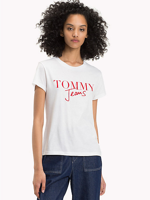 TOMMY JEANS Organic Cotton Script Logo T-Shirt - BRIGHT WHITE - TOMMY JEANS Sustainable Evolution - main image